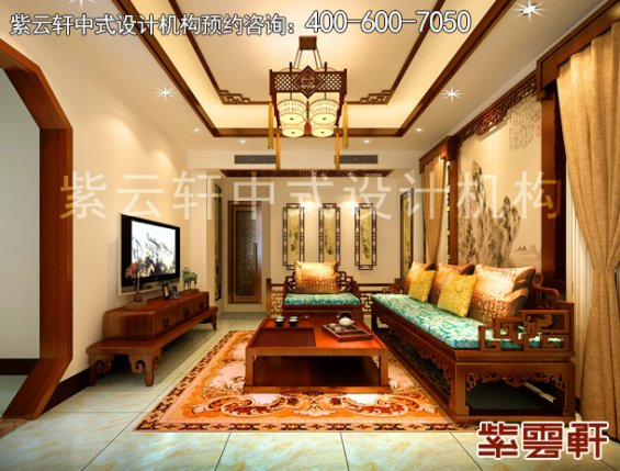 郑州复式楼简约中式装修案例,客厅中式设计效果图