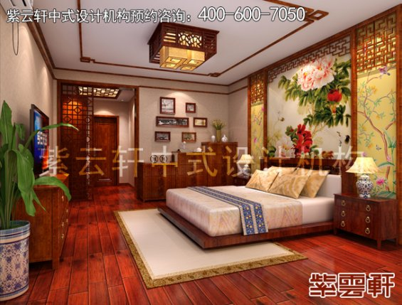 郑州复式楼简约中式装修案例,卧室中式设计效果图