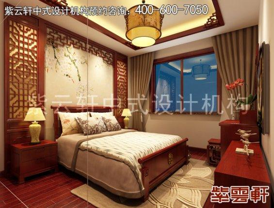 保定PARK湾精品住宅中式风格设计案例,卧室中式装修效果图