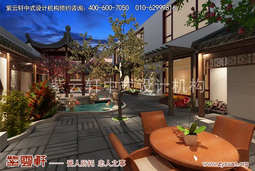 北京大兴独栋别墅简约古典中式装修案例,庭院中式装修设计图
