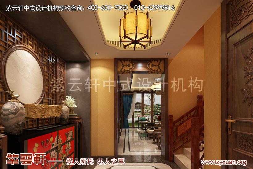 顺义简约古典中式装修别墅设计,门厅中式设计图