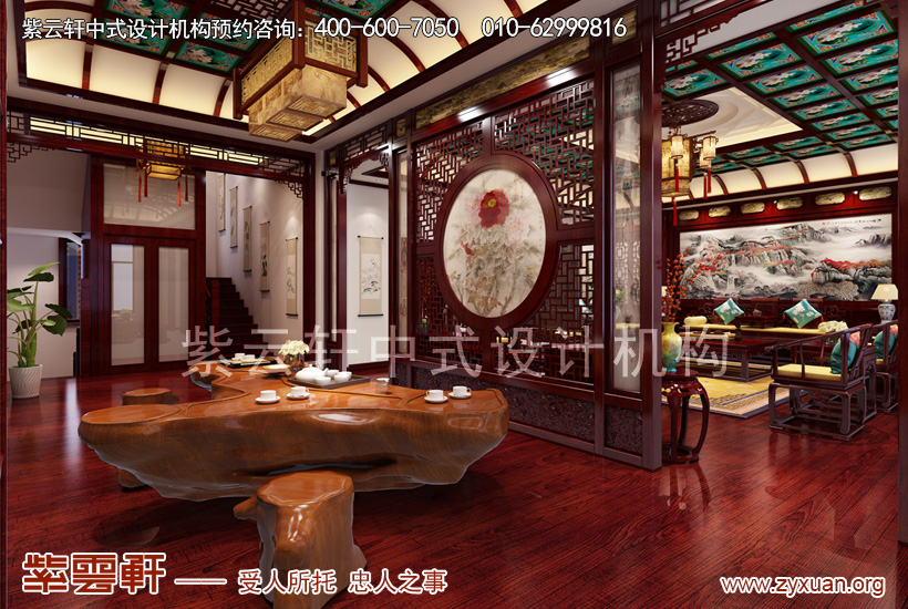 赤峰古典中式豪宅设计案例赏析,茶区中式设计图