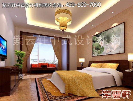 哈尔滨精品住宅现代中式设计案例,卧室中式装修效果图