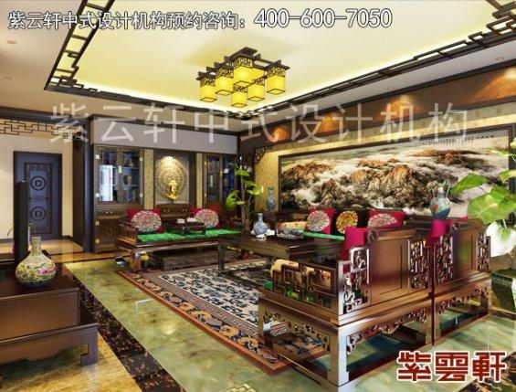 南京平层古典中式装修设计案例,客厅中式装修效果图