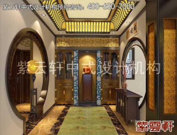 南京平层古典中式装修设计案例,过道中式装修效果图