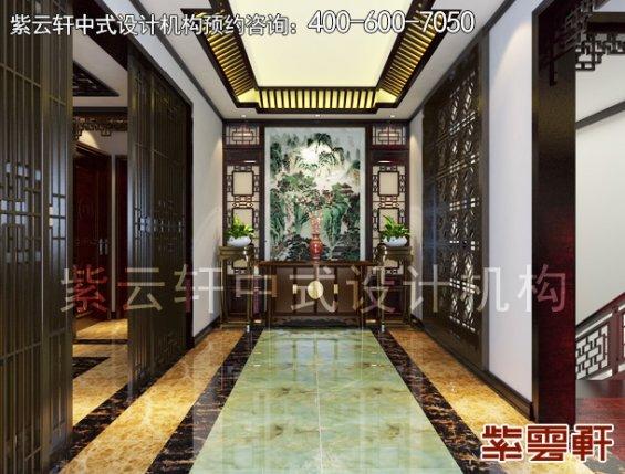 南京平层古典中式装修设计案例,玄关中式装修效果图
