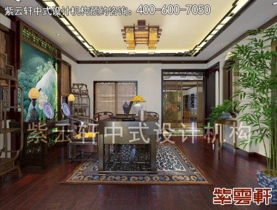 南京平层古典中式装修设计案例,书房中式装修效果图
