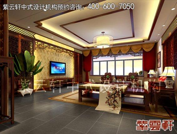 深圳平层住宅简约中式设计案例,客厅中式装修效果图