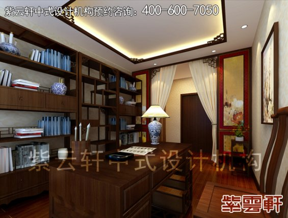 深圳平层住宅简约中式设计案例,书房中式装修效果图
