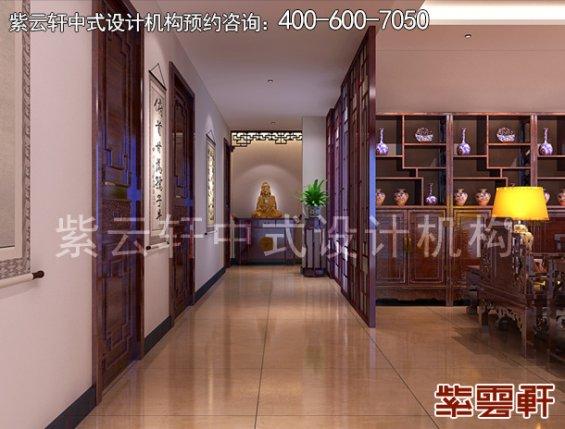 顺义平层住宅赵先生新中式装修案例,过道中式装修效果图