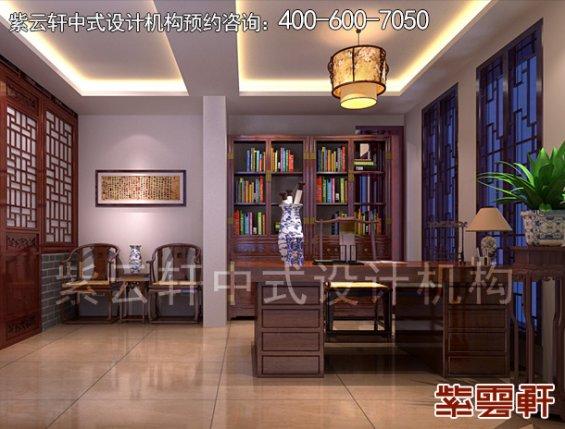 顺义平层住宅赵先生新中式装修案例,书房中式装修效果图