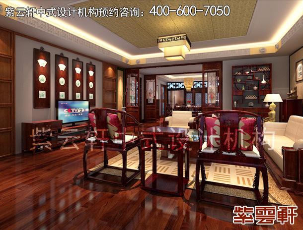 太原邹哥平层住宅新中式装修案例,客厅中式装修效果图