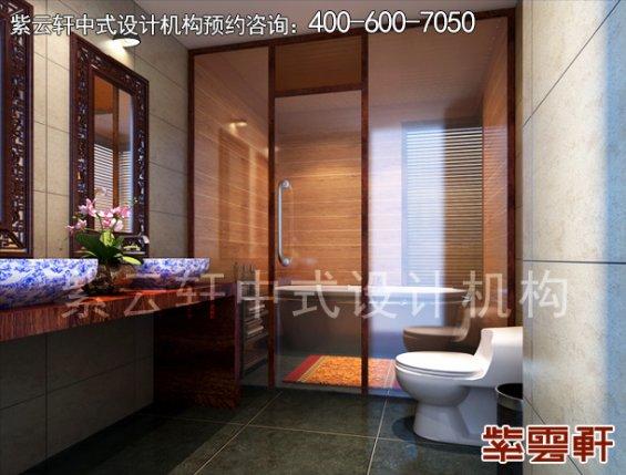 太原邹哥平层住宅新中式装修案例,卫生间中式装修效果图