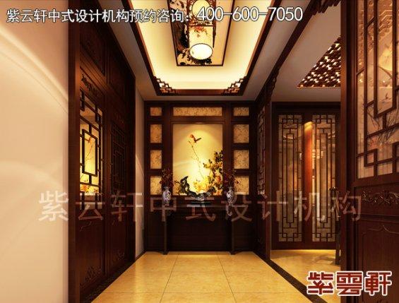 中式设计风格丹东邱哥平层别墅,走道中式装修效果图
