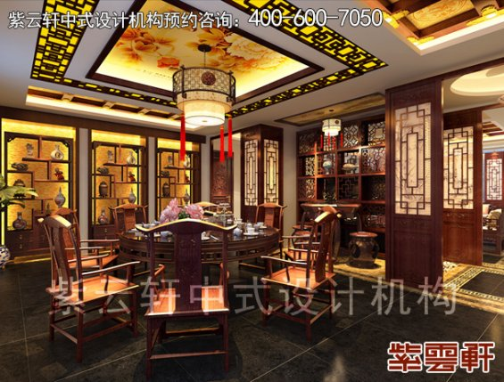 中式设计风格丹东邱哥平层别墅,餐厅中式装修效果图