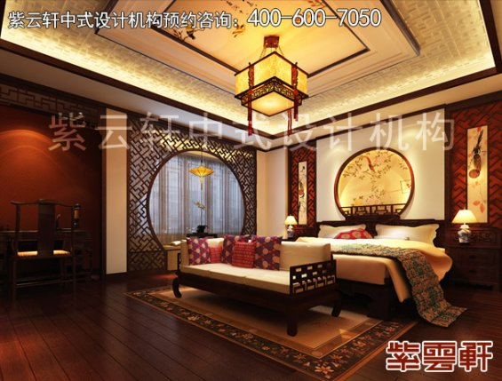 中式设计风格丹东邱哥平层别墅,卧室中式装修效果图