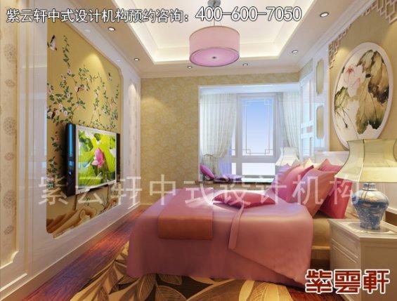 江苏溧阳平层住宅古典中式装修设计案例,卧室中式装修效果图