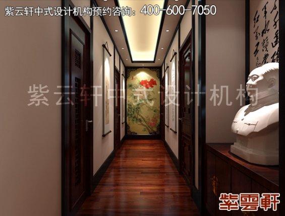 湖南艺术小舍平层住宅中式装修案例,过道中式装修效果图