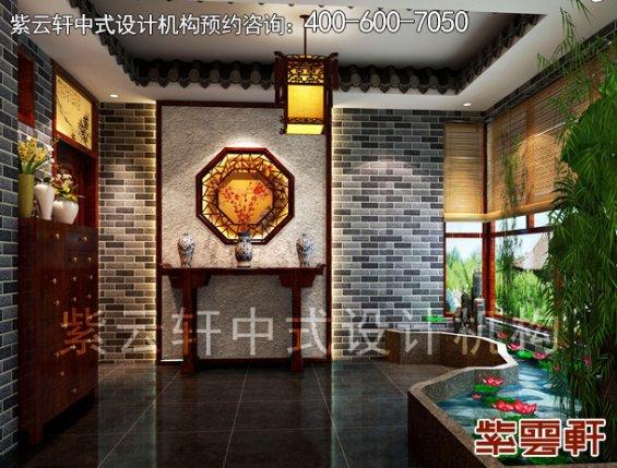 高阳晨哥平层住宅简约中式装修案例,门厅中式装修效果图