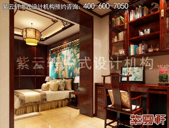 高阳晨哥平层住宅简约中式装修案例,卧室中式装修效果图