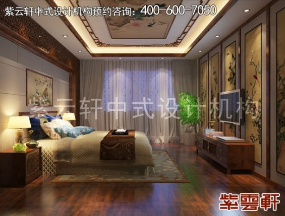 临汾样板间新中式装修设计案例,卧室中式装修效果图