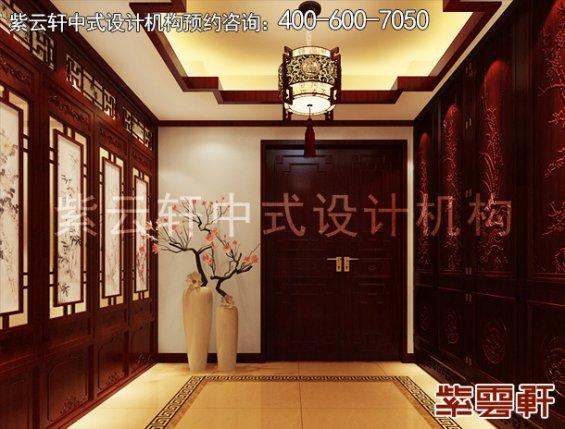 长沙湘江壹号刘姐平层住宅简约中式装修案例,玄关中式装修效果图