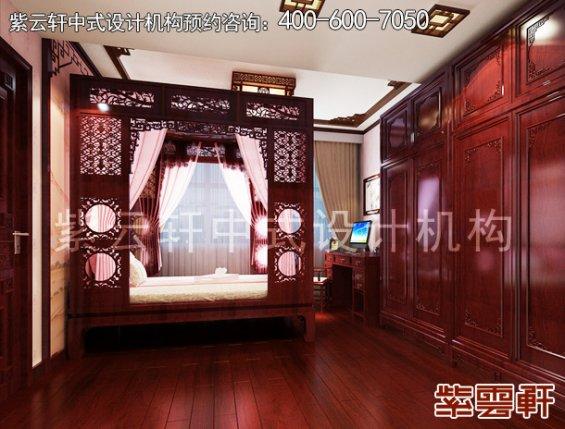 长沙湘江壹号刘姐平层住宅简约中式装修案例,卧室中式装修效果图