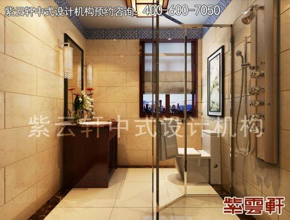长沙湘江壹号刘姐平层住宅简约中式装修案例,卫生间中式装修效果