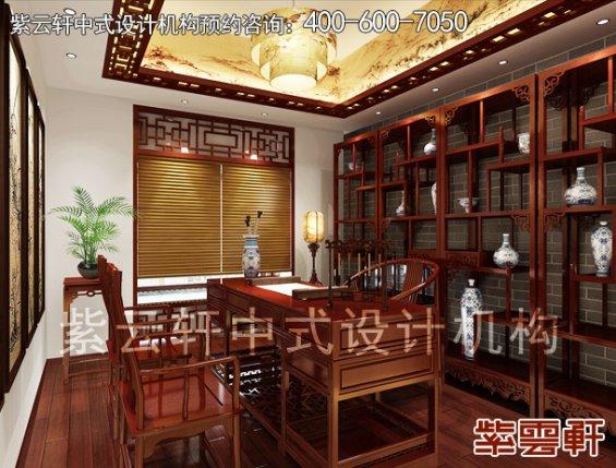 重庆赵先生平层住宅新中式设计案例,书房中式装修效果图