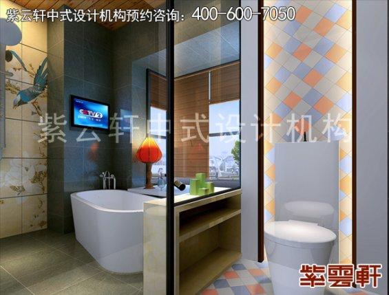 重庆赵先生平层住宅新中式设计案例,卫生间中式装修效果图