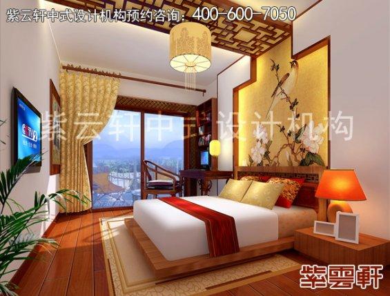 重庆赵先生平层住宅新中式设计案例,卧室中式装修效果图