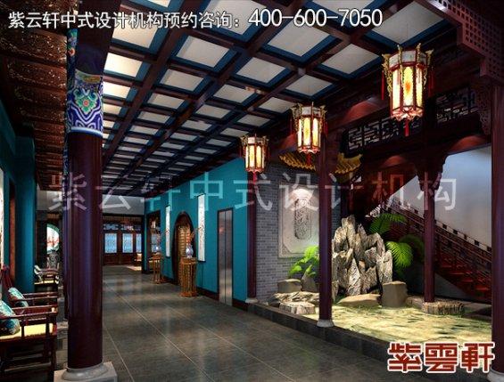 贵州南海阁客栈古典中式装修案例,过道中式装修效果图