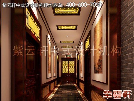 北京门头沟书画会所古典中式设计案例,过道中式装修效果图