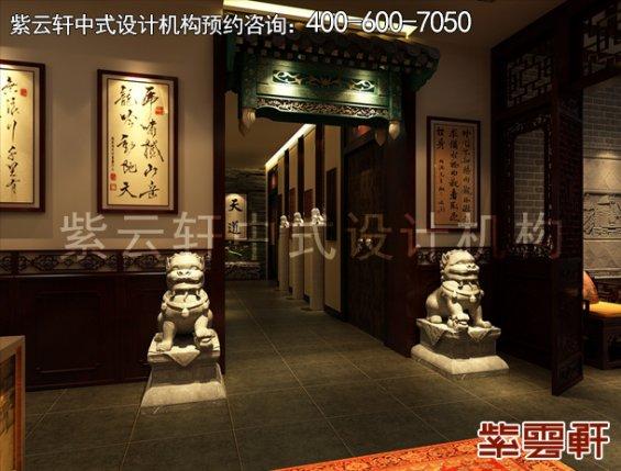 聊城私人餐饮会所古典中式装修设计案例,过道中式装修效果图