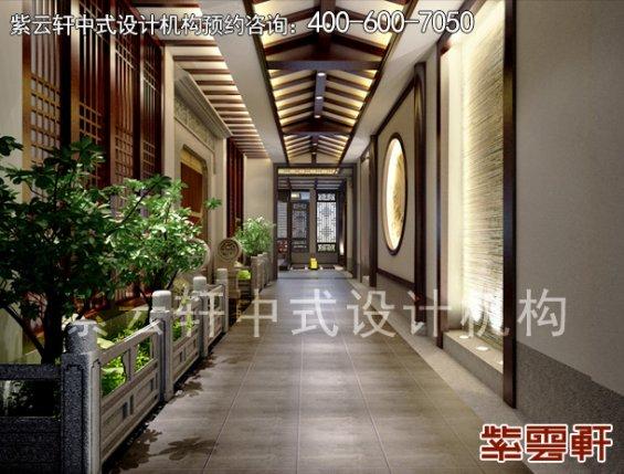 昆山朱先生私人会所中式设计案例,过道中式装修效果图