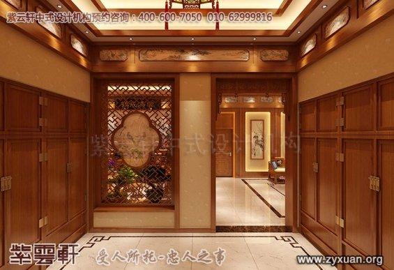 常州别墅古典中式装修案例,门厅中式装修效果图