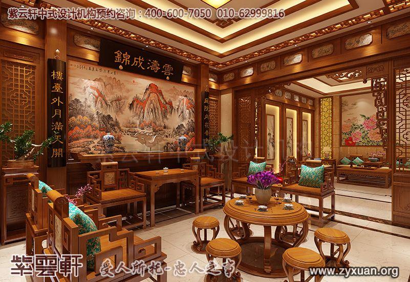 常州别墅古典中式装修案例,客厅中式装修效果图