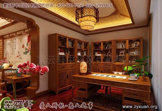 常州别墅古典中式装修案例,书房中式装修效果图