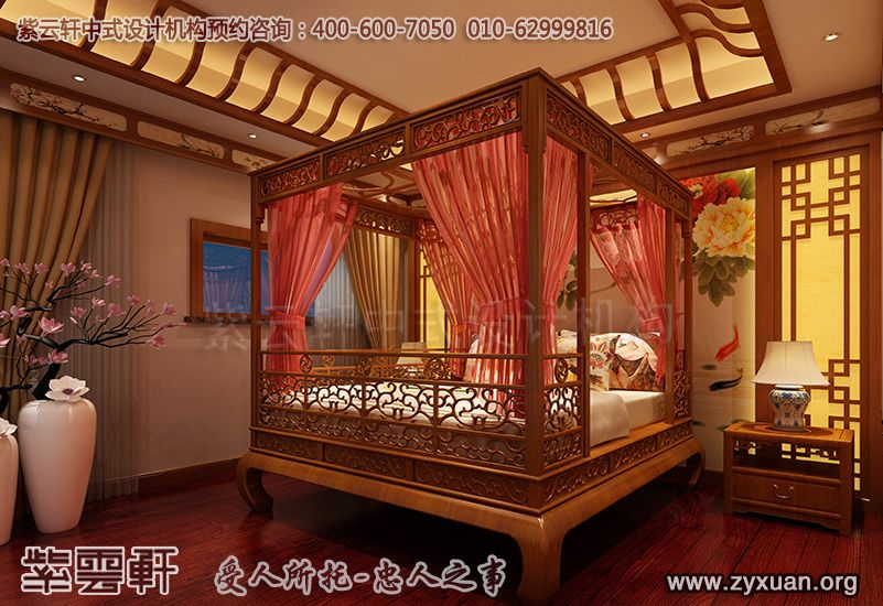 常州别墅古典中式装修案例,卧室中式装修效果图图片