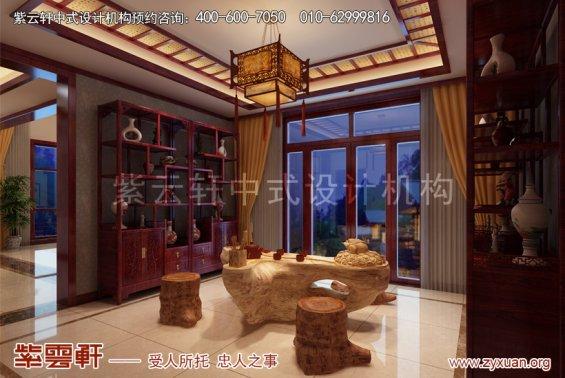 天津武清王记宅邸别墅现代中式设计案例,茶室中式装修效果图