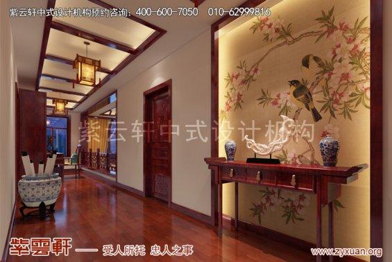 天津武清王记宅邸别墅现代中式设计案例,过道中式装修效果图