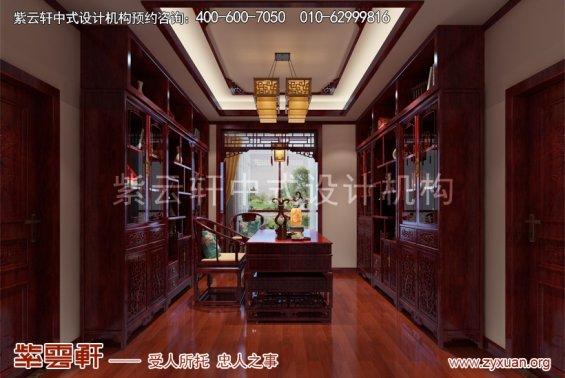 天津武清王记宅邸别墅现代中式设计案例,书房中式装修效果图