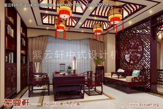 广东佛山别墅现代中式设计案例,书房中式装修效果图