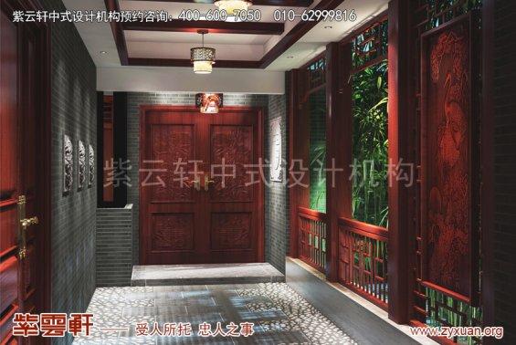 西安白桦林间刘姐复式古典中式设计案例,门厅中式装修效果图