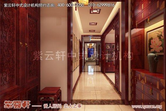 天津武清王记宅邸别墅现代中式设计案例,玄关中式装修效果图