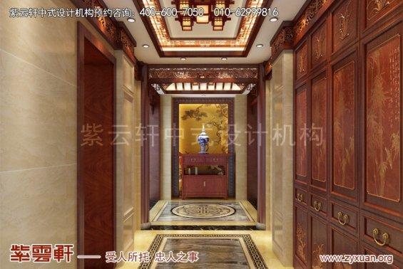 扬州唐郡别墅中式设计案例,玄关中式装修效果图