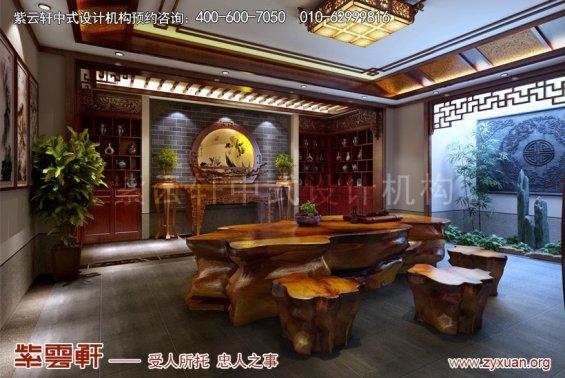 扬州唐郡别墅中式设计案例,茶室中式装修效果图