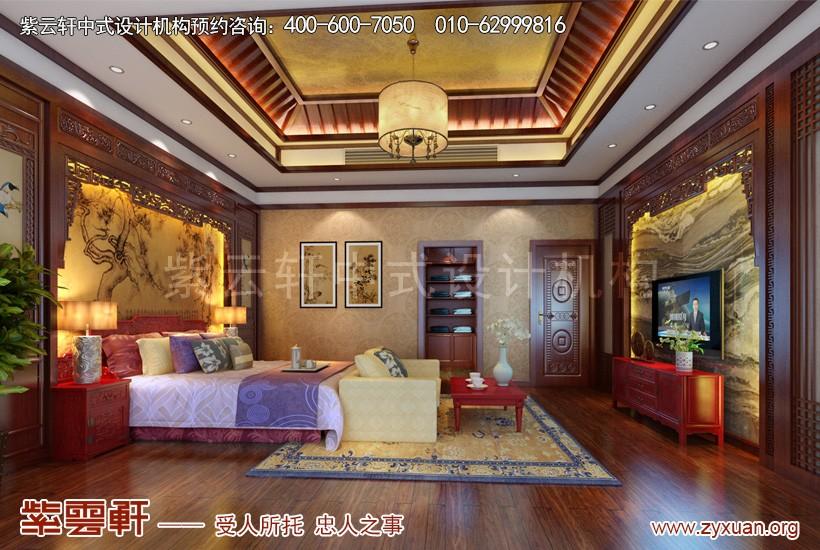 揚州唐郡別墅中式設計案例,臥室中式裝修效果圖