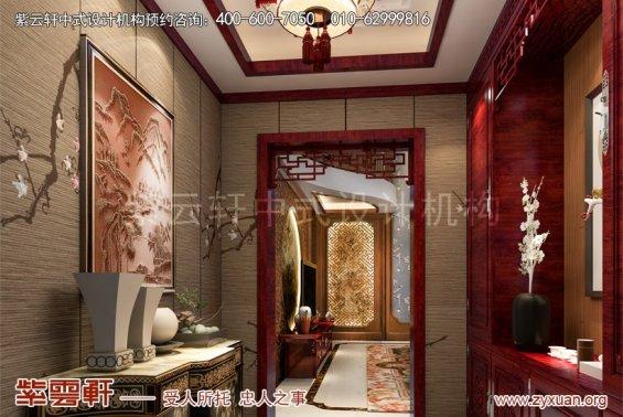 聊城东昌首府付总别墅新中式设计案例,玄关中式装修效果图