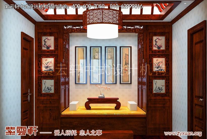 来源:紫云轩中式装修效果图 说明:中式卧室,卧榻两旁橱柜构成空间中的